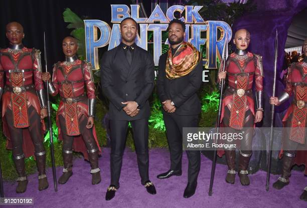 Actor Michael B Jordan and writer/director Ryan Coogler at the Los Angeles World Premiere of Marvel Studios' BLACK PANTHER at Dolby Theatre on...