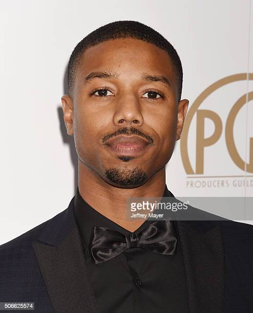 Actor Michael B Jordan arrives at the 27th Annual Producers Guild Awards at the Hyatt Regency Century Plaza on January 23 2016 in Century City...