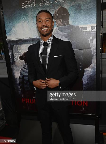 Actor Michael B Jordan arrives at the premiere of The Weinstein Company's Fruitvale Station at Regal Cinemas LA Live on June 17 2013 in Los Angeles...