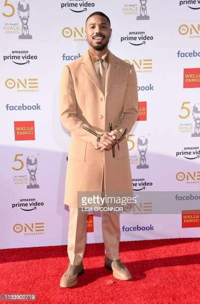 US actor Michael B Jordan arrives for the 50th NAACP Image awards at the Dolby theatre on March 30 2019 in Los Angeles