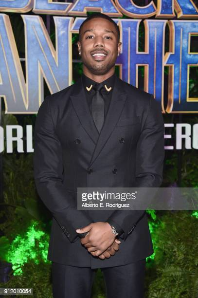 Actor Michael B Jordan at the Los Angeles World Premiere of Marvel Studios' BLACK PANTHER at Dolby Theatre on January 29 2018 in Hollywood California