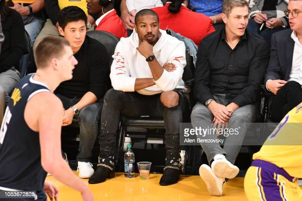 Actor Michael B Jordan attends a basketball game between the Los Angeles Lakers and the Denver Nuggets at Staples Center on October 25 2018 in Los...