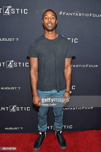 Actor Michael B Jordan attends Fantastic Four Atlanta VIP screening at Cinebistro on July 30 2015 in Atlanta Georgia