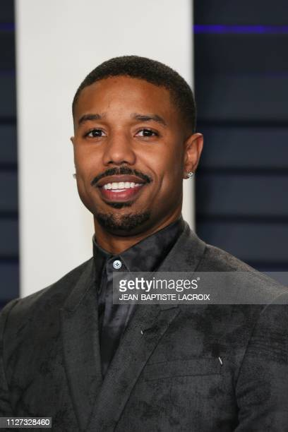 US actor Michael B Jordan attends the 2019 Vanity Fair Oscar Party following the 91st Academy Awards at The Wallis Annenberg Center for the...