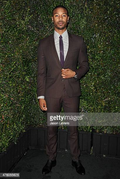 Actor Michael B Jordan attends the Chanel and Charles Finch preOscar dinner at Madeo Restaurant on March 1 2014 in Los Angeles California