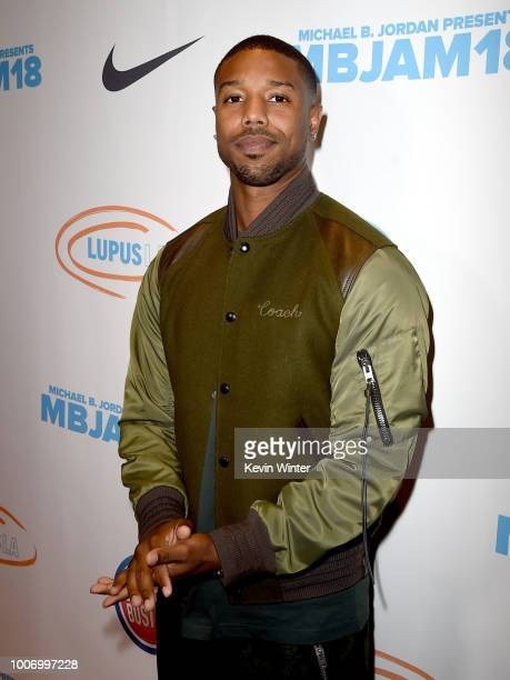 Actor Michael B Jordan attends the Michael B Jordan and Lupus 2nd Annual LA MBJAM18 event at Dave and Busters on July 28 2018 in Los Angeles...