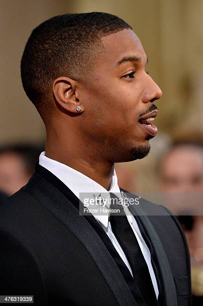 Actor Michael B Jordan attends the Oscars held at Hollywood Highland Center on March 2 2014 in Hollywood California