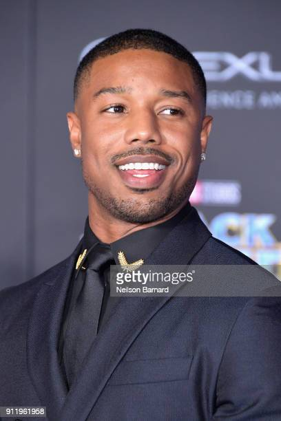 Actor Michael B Jordan attends the premiere of Disney and Marvel's Black Panther at Dolby Theatre on January 29 2018 in Hollywood California