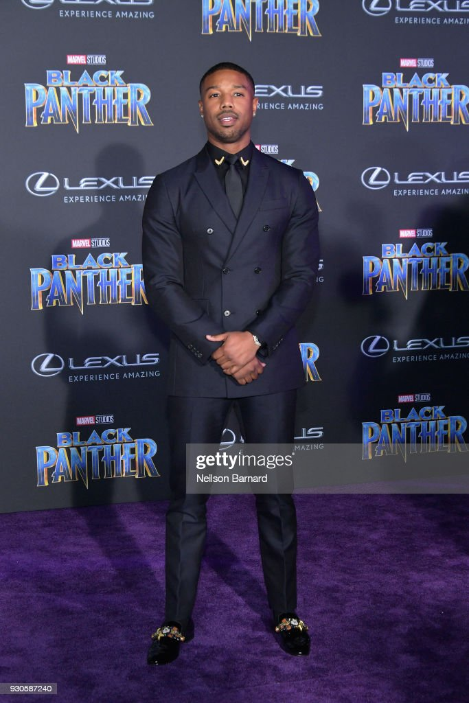 Actor Michael B. Jordan attends the premiere of Disney and Marvel's 'Black Panther' at Dolby Theatre on January 29, 2018 in Hollywood, California.