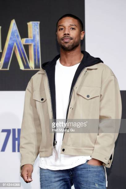 Actor Michael B Jordan attends the press conference for the Seoul premiere of 'Black Panther' on February 5 2018 in Seoul South Korea