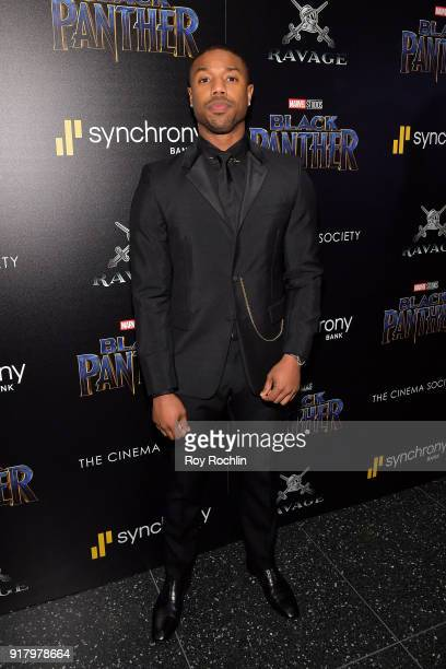 Actor Michael B Jordan attends the screening of Marvel Studios' 'Black Panther' hosted by The Cinema Society on February 13 2018 in New York City