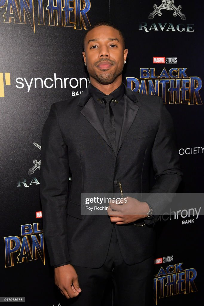 Actor Michael B. Jordan attends the screening of Marvel Studios' 'Black Panther' hosted by The Cinema Society on February 13, 2018 in New York City.