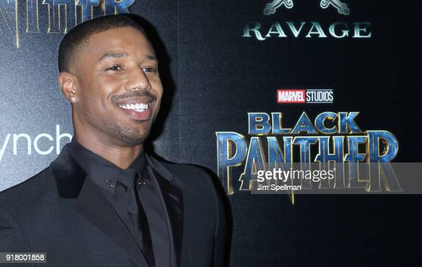 Actor Michael B Jordan attends the screening of Marvel Studios' Black Panther hosted by The Cinema Society with Ravage Wines and Synchrony at Museum...