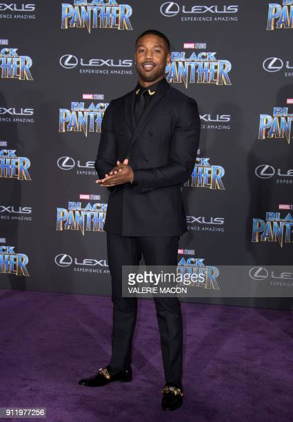 Actor Michael B Jordan attends the world premiere of Marvel Studios Black Panther on January 29 in Hollywood California / AFP PHOTO / VALERIE MACON
