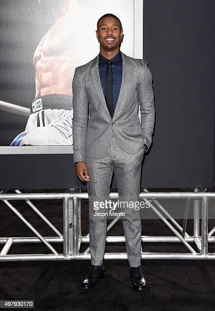 Actor Michael B Jordan attends Warner Bros Pictures' 'Creed' Premiere at Regency Village Theatre on November 19 2015 in Westwood California