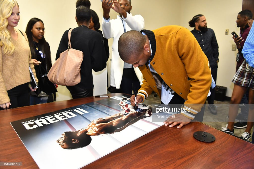 CREED II Stars Michael B. Jordan, Florian Munteanu And Director Steven Caple Jr. Visit Clark Atlanta University