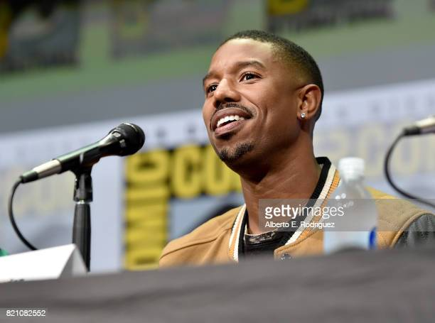 Actor Michael B Jordan from Marvel Studios' 'Black Panther' at the San Diego ComicCon International 2017 Marvel Studios Panel in Hall H on July 22...