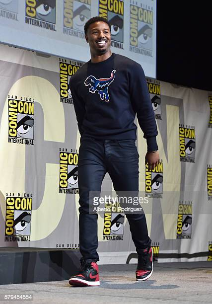 """Actor Michael B Jordan from Marvel Studios' 'Black Panther"""" attends the San Diego ComicCon International 2016 Marvel Panel in Hall H on July 23 2016..."""
