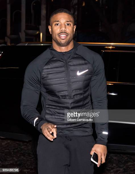 Actor Michael B Jordan is seen arriving to Zahav restaurant for a 'Creed II' cast dinner on March 28 2018 in Philadelphia Pennsylvania