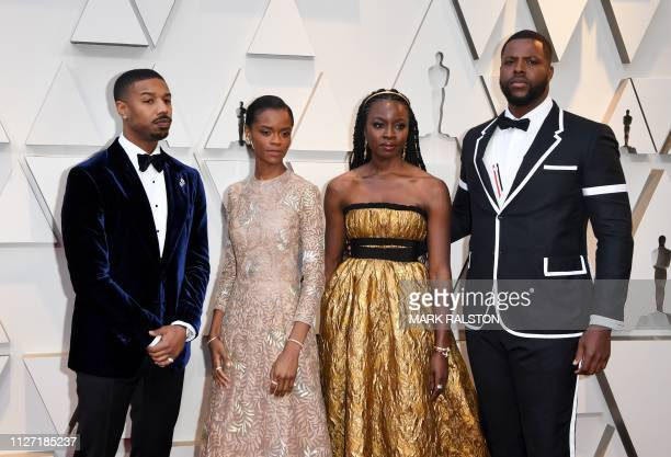 Actor Michael B Jordan Letitia Wright Danai Gurira and Winston Duke arrive for the 91st Annual Academy Awards at the Dolby Theatre in Hollywood...