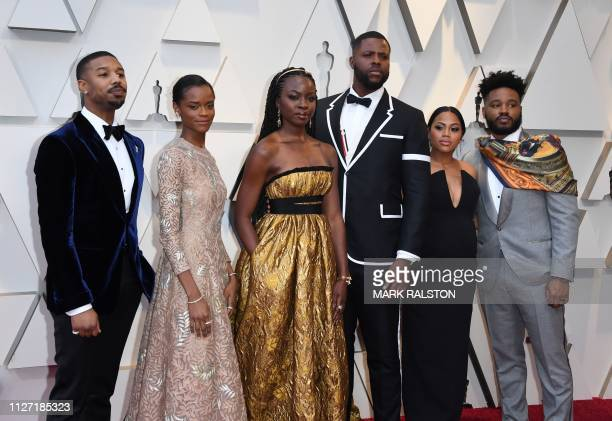 Actor Michael B Jordan Letitia Wright Danai Gurira Winston Duke Zinzi Evans and husband director Ryan Coogler arrive for the 91st Annual Academy...