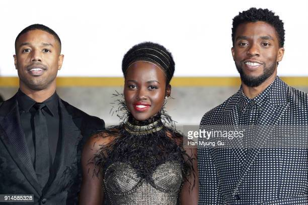 Actor Michael B Jordan Lupita Nyong'o and Chadwick Boseman arrive at the red carpet of the Seoul premiere of 'Black Panther' on February 5 2018 in...
