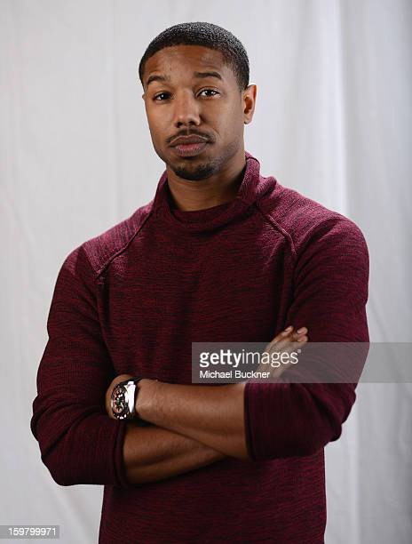 Actor Michael B Jordan poses for a portrait at the photo booth for MSN Wonderwall at ChefDance on January 20 2013 in Park City Utah