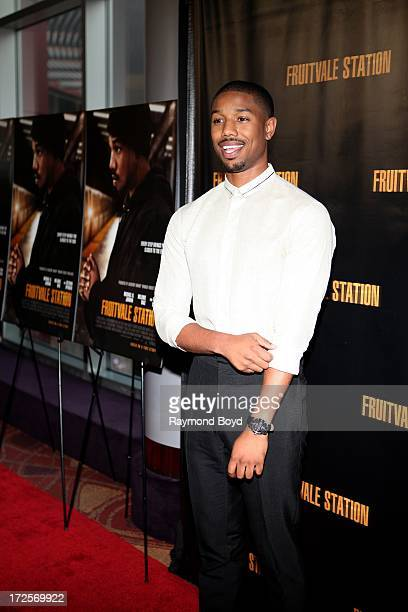 Actor Michael B Jordan poses for photos during the red carpet arrivals for the 'Fruitvale Station' movie screening at the Showplace ICON Theatres in...
