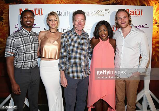 Actor Michael B Jordan recipient of the 2016 Maui Film Festival Rainmaker Award in Wailea model/actress Kelly Rohrbach recipient of the 2016 Maui...