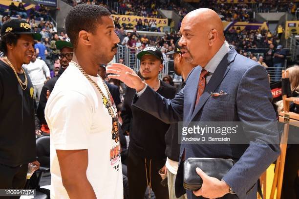 Actor Michael B Jordan shakes hands with commentator Michael Wilbon on March 6 2020 at STAPLES Center in Los Angeles California NOTE TO USER User...
