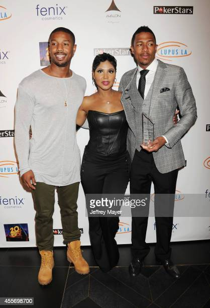 Actor Michael B Jordan singer Toni Braxton and TV personality Nick Cannon attend the Stars Get Lucky For Lupus 6th Annual Poker Tournament at Avalon...