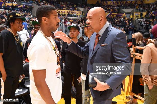 Actor Michael B Jordan talks with ESPN Analyst Michael Wilbon before the game between the Los Angeles Lakers and the Milwaukee Bucks on March 6 2020...