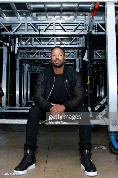 Actor Michael B Jordan waits to be announced before the NBA AllStar Game as part of the 2017 NBA All Star Weekend on February 19 2017 at the Smoothie...