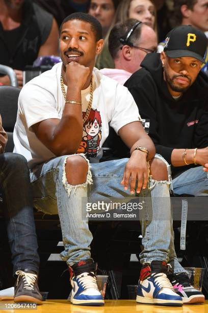 Actor Michael B Jordan watches the game on March 6 2020 at STAPLES Center in Los Angeles California NOTE TO USER User expressly acknowledges and...