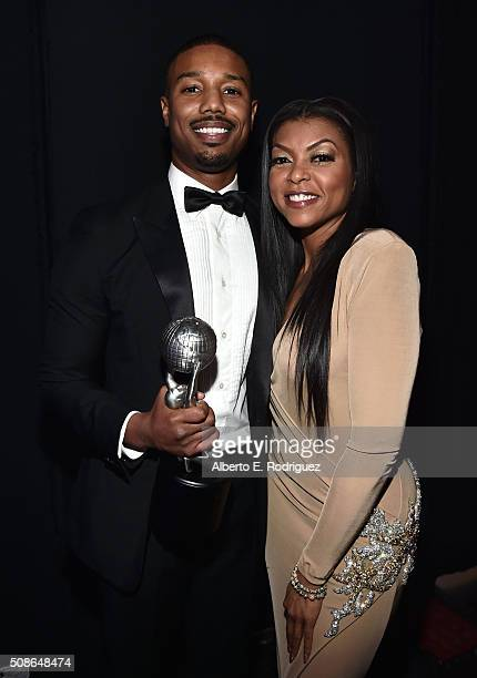 Actor Michael B Jordan winner of the award for Entertainer of the Year and actress Taraji P Henson attend the 47th NAACP Image Awards presented by TV...