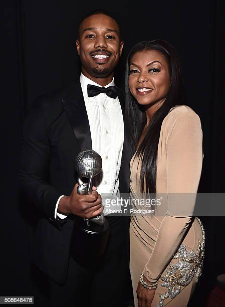 Actor Michael B. Jordan , winner of the award for Entertainer of the Year, and actress Taraji P. Henson attend the 47th NAACP Image Awards presented...