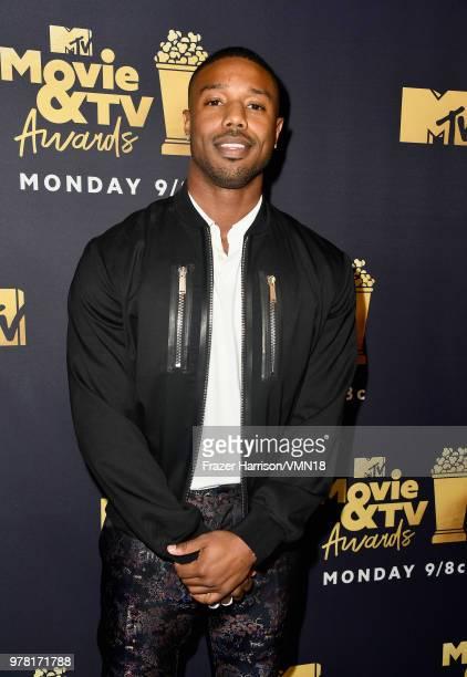 Actor Michael B Jordan winner of the Best Villain award for 'Black Panther' attends the 2018 MTV Movie And TV Awards at Barker Hangar on June 16 2018...