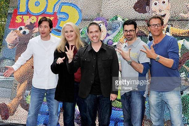 Actor Michael Bully Herbig Rick Kavanian Christian Tramitz director Lee Unkrich and producer Darla K Anderson attend the photocall 'Toy Story 3 at...