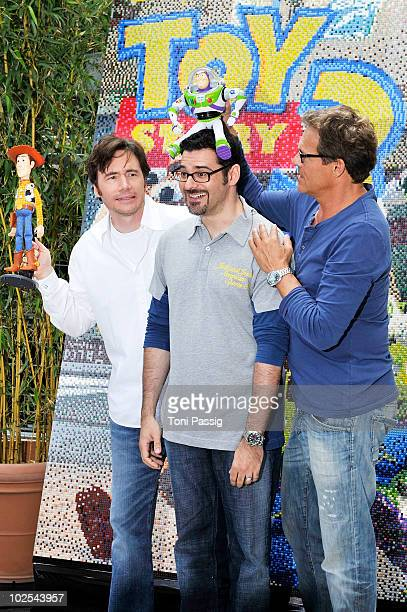 Actor Michael Bully Herbig with Rick Kavanian and Christian Tramitz attend the photocall 'Toy Story 3 at Cine Star Potsdamer Platz on June 30 2010 in...