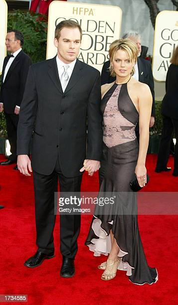 Actor Michael C Hall and actress Amy Spanger attends the 60th Annual Golden Globe Awards at the Beverly Hilton Hotel on January 19 2003 in Beverly...