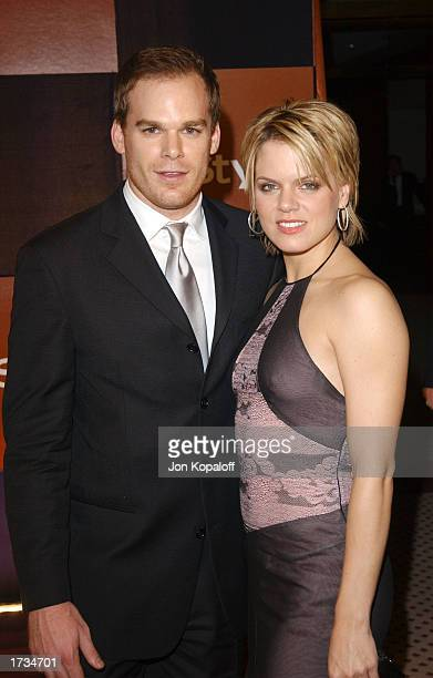 Actor Michael C Hall and actress Amy Spanger pose during InStyle Golden Globes after party at The Palm Court at the Beverly Hilton Hotel on January...