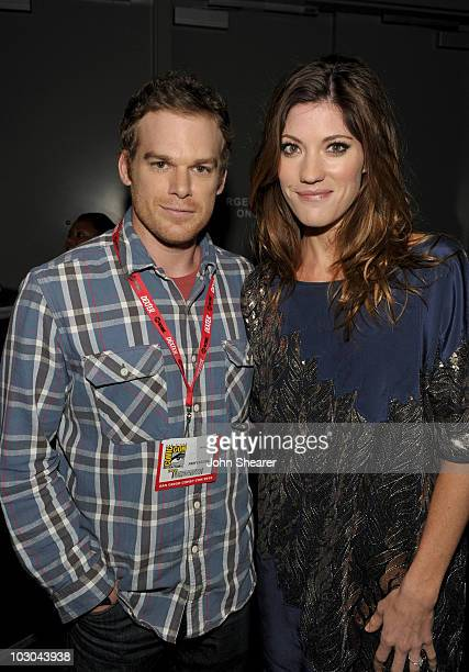 Actor Michael C Hall and actress Jennifer Carpenter backstage at the Dexter panel during ComicCon 2010 at San Diego Convention Center on July 22 2010...