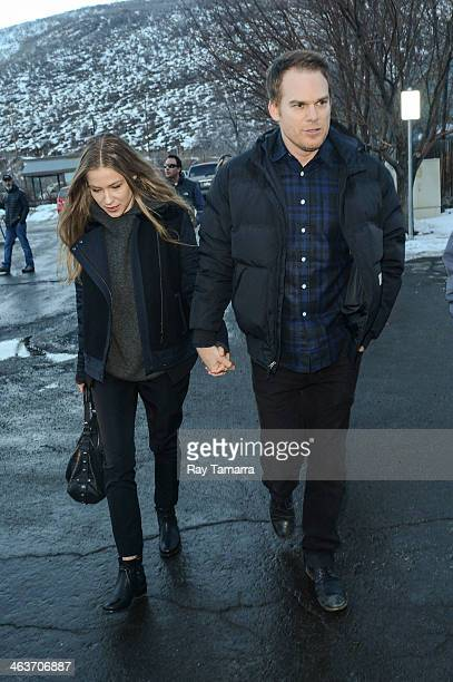 Actor Michael C Hall and guest enter the Library Theater on January 18 2014 in Salt Lake City Utah