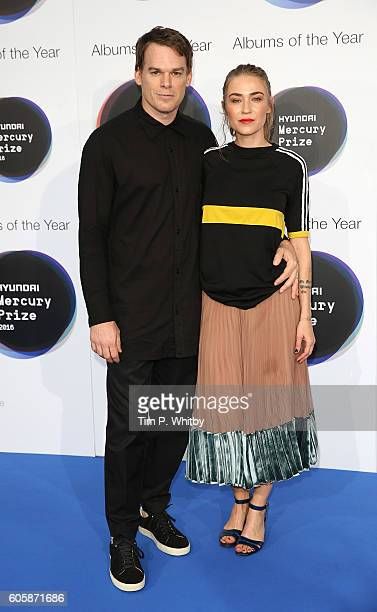 Actor Michael C Hall and his wife Morgan Macgregor pose for a photo at the Hyundai Mercury Prize 2016 at Eventim Apollo on September 15 2016 in...