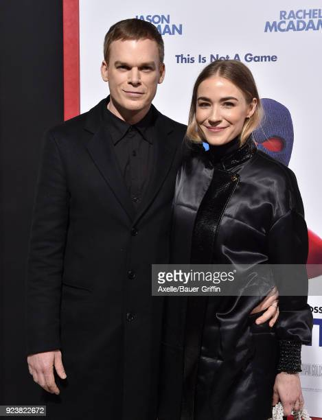 Actor Michael C Hall and Morgan Macgregor arrive at the Los Angeles premiere of 'Game Night' at TCL Chinese Theatre on February 21 2018 in Hollywood...