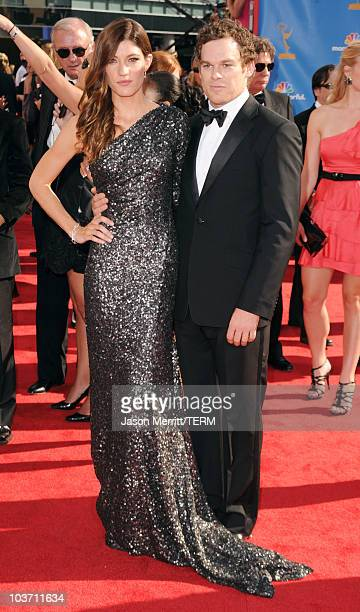 Actor Michael C Hall and wife actress Jennifer Carpenter arrive at the 62nd Annual Primetime Emmy Awards held at the Nokia Theatre LA Live on August...