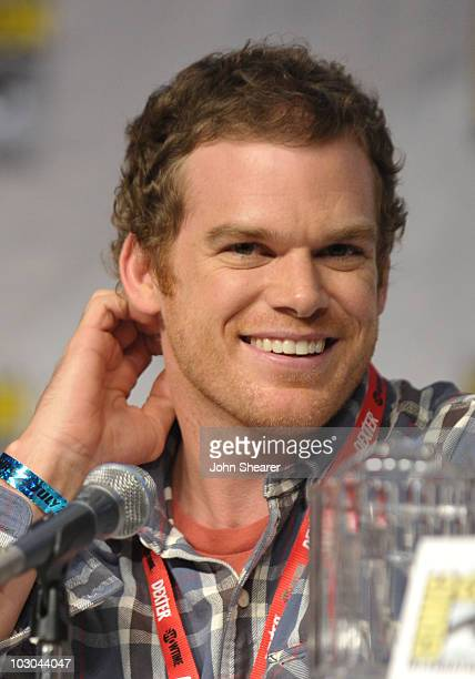 Actor Michael C Hall speaks at the AntiHeroes of Showtime panel during ComicCon 2010 at San Diego Convention Center on July 22 2010 in San Diego...