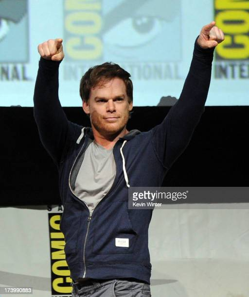 """Actor Michael C. Hall speaks onstage at Showtime's """"Dexter"""" panel during Comic-Con International 2013 at San Diego Convention Center on July 18, 2013..."""