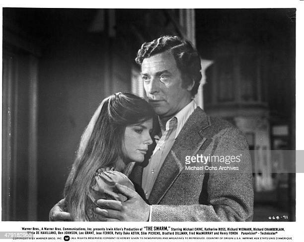 Actor Michael Caine and actress Katharine Ross in a scene from the Warner Bros movie The Swarm circa 1978