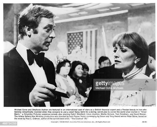 Actor Michael Caine and actress Stephane Audran on set the movie Silver Bears circa 1977